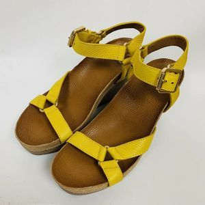 Tory Burch Yellow Leather Wedge Sandals 9.5